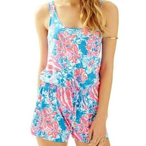 LILLY PULITZER Floral Tank Romper Size XS